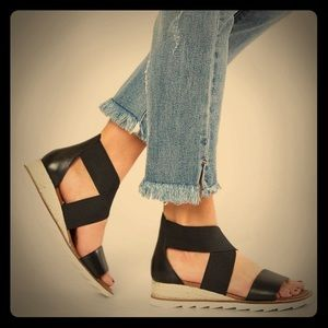 Buckle Shoes - Genuine Leather Black Wedges